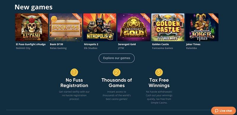 simple casino interface screenshot
