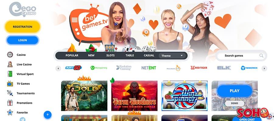 ego casino screenshot interface
