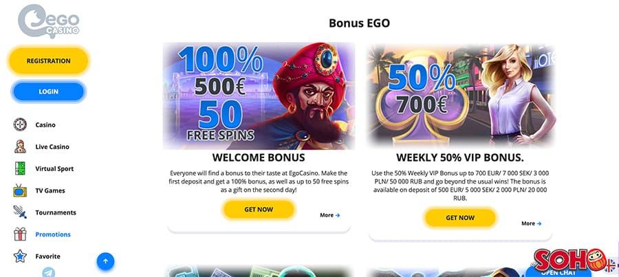 ego casino screenshot promotions