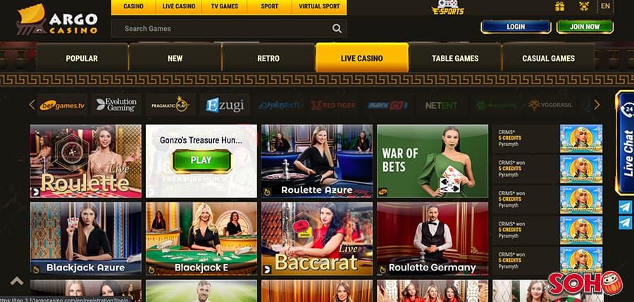argo casino live games section