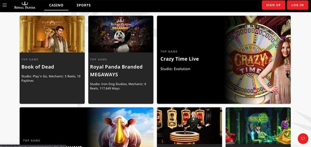 royal panda screenshot casino promotions